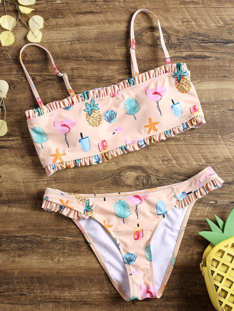 Flamingo Ruffle Tube Bikini - LIGHT APRICOT PINK 2XL