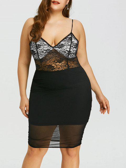 Plus Size Sheer Lace Insert Cami Dress - BLACK 3XL