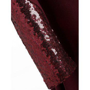 Plus Size Long Sleeve Sequins Tunic Top - WINE RED 4XL