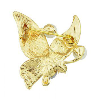 Rhinestone Inlay Vintage Style Butterfly Brooch - GOLDEN