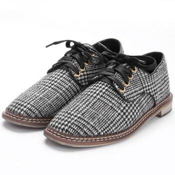 Removable Insole Plaid Casual Shoes - BLACK 36