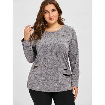 Plus Size Long Sleeve Ripped Tee - GRAY 5XL