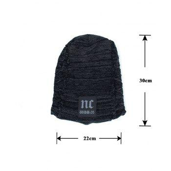 Letters Label Thicken Double-Deck Knit Hat - DEEP GRAY