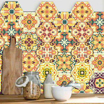 10Pcs Antislip Floral Hexagon Wall Stickers - COLORMIX