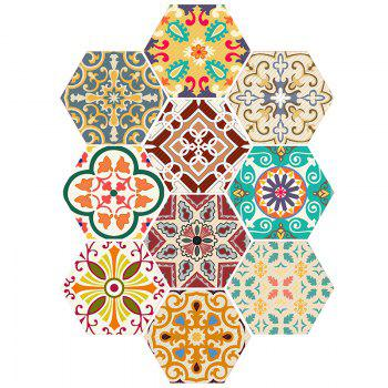 10PCS Hexagon Antislip Wall Decals - COLORFUL COLORFUL