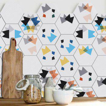 Hexagon Shaped Geometric Wall Art Decals Set - COLORMIX