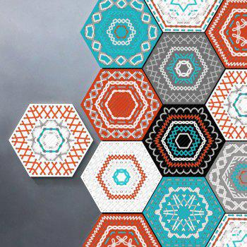 10Pcs Hexagon Geometric Wall Tile Decals - COLORFUL