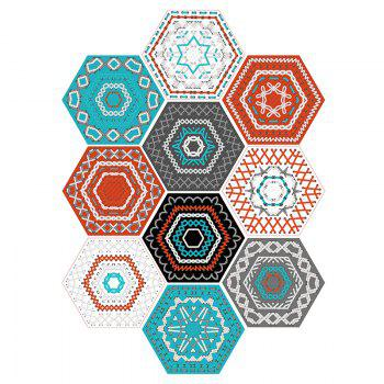 10Pcs Hexagon Geometric Wall Tile Decals - COLORFUL COLORFUL