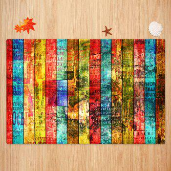Colorful Woodgrain Pattern Non-skip Indoor Outdoor Area Rug - COLORFUL W24 INCH * L35.5 INCH