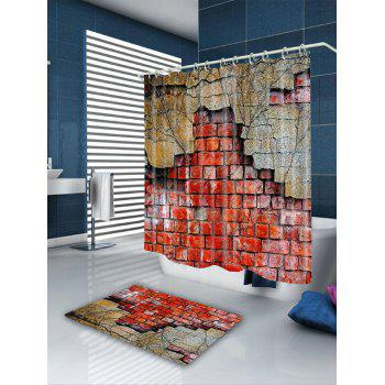 Dilapidated Brick Wall Printed  Showerproof Bathroom Curtain - DARK AUBURN W71 INCH * L79 INCH