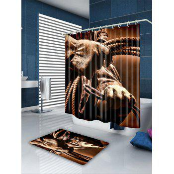 Waterproof Cowboy Style Bathroom Curtain - BROWN W71 INCH * L79 INCH