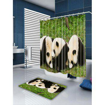 Three Pandas Pattern Showerproof Bathroom Curtain - COLORMIX W71 INCH * L79 INCH