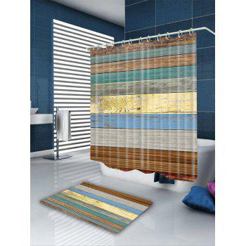 Colored Wooden Board Pattern Showerproof Bathroom Curtain - COLORFUL W71 INCH * L71 INCH