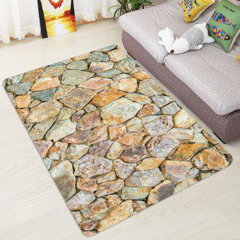 Stones Wall Pattern Indoor Outdoor Area Rug - EARTHY W47 INCH * L63 INCH