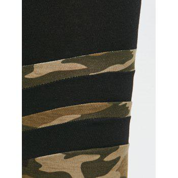 Camouflage Striped Workout Leggings - ACU CAMOUFLAGE M