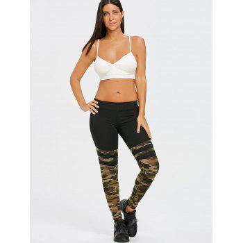Camouflage Striped Workout Leggings - ACU CAMOUFLAGE L