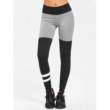 Color Block High Rise Workout Leggings - BLACK/GREY M