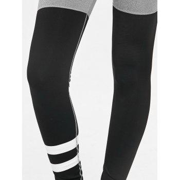 Color Block High Rise Workout Leggings - BLACK/GREY L
