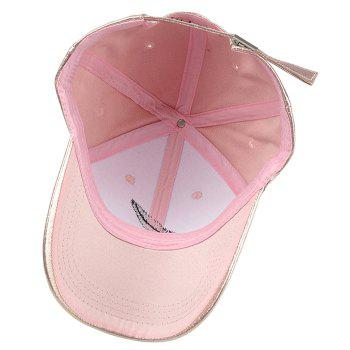 Vintage Feather Embroidery Faux Leather Baseball Cap - PINK