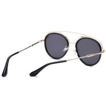 Unique Crossbar Hollow Out Decorated Round Sunglasses - BLACK/GREY