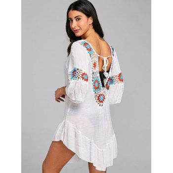 Backless Crochet Insert Flounce Cover Up Dress - WHITE ONE SIZE