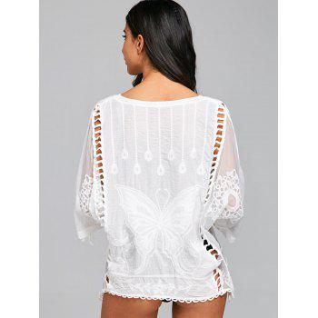 Batwing Mesh Openwork Embroidery Cover Up - WHITE ONE SIZE