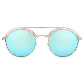 Unique Metal Ful Frame Hollow Out Oval Sunglasses - SILVER FRAME/BLUE MERCURY LENS