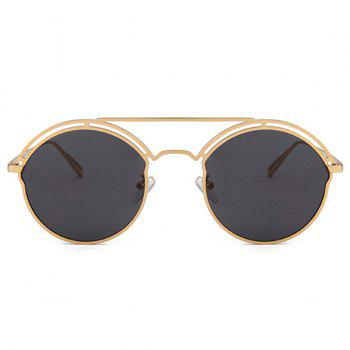 Unique Metal Ful Frame Hollow Out Oval Sunglasses - GOLDEN/GREY