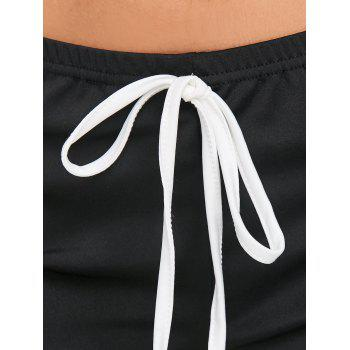 Two Tone Drawstring Sports Shorts - BLACK L