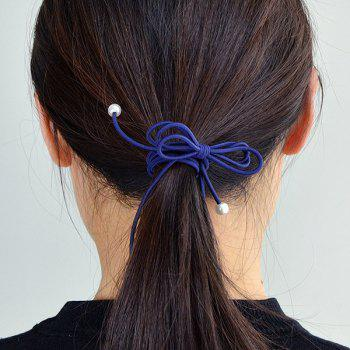 Faux Pearl Bowknot Elastic Hair Band - CADETBLUE