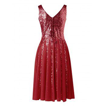 Robe en Mousseline sans Manches à Paillettes - Rouge vineux M