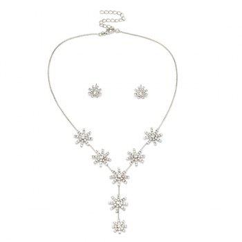 Faux Dimaond Flower Pendant Necklace with Stud Earrings - SILVER SILVER
