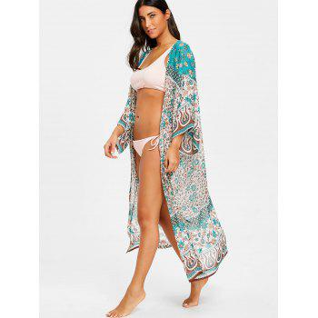 Chiffon Floral See Thru Kimono Cover Up - FLORAL ONE SIZE
