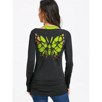 Butterfly Cut Out Back Long Sleeve T-shirt - BLACK L