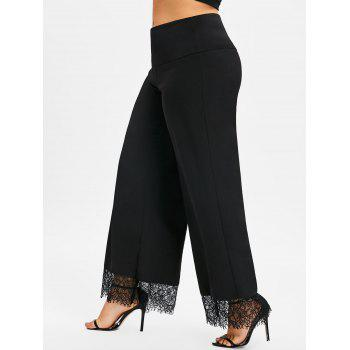 Plus Size Lace Trim Wide Leg Pants - BLACK 2XL