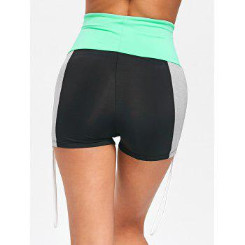 Side String High Waist Yoga Shorts - COLORMIX XL