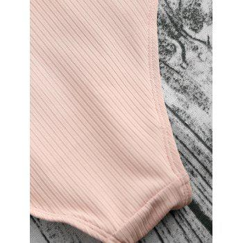 Ribbed Racerback High Cut One Piece Swimsuit - NUDE PINK L