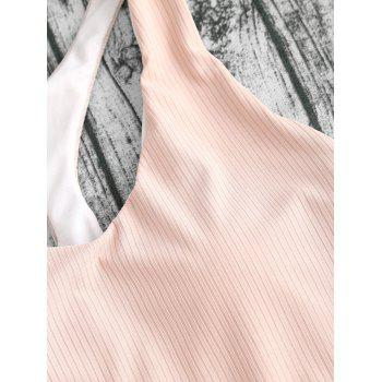 Ribbed Racerback High Cut One Piece Swimsuit - NUDE PINK XL