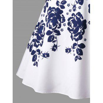 Plus Size Floral Printed Flare Dress - WHITE 5XL