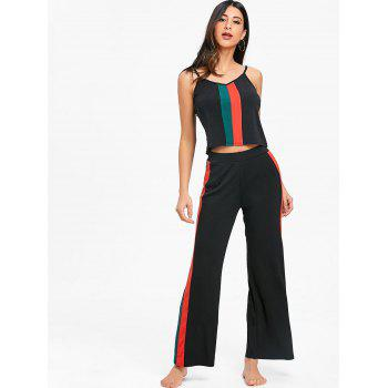 Cami Top With High Rise Palazzo Pants - BLACK S
