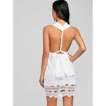 Convertible Low Cut Backless Mini Party Dress - WHITE L