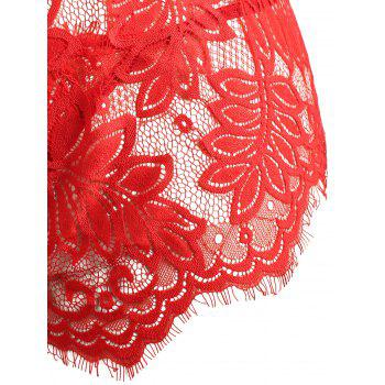 Sheer Leaf Lace Plongeant Plus Taille Teddy - Rouge 3XL