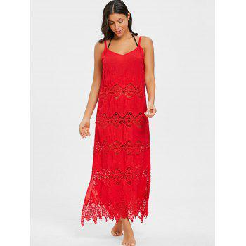 Crochet Maxi Beach Cover Up Dress - RED ONE SIZE