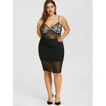Plus Size Sheer Lace Insert Cami Dress - BLACK XL