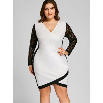 Plus Size Lace Panel Two Tone Fitted Dress - WHITE/BLACK 5XL