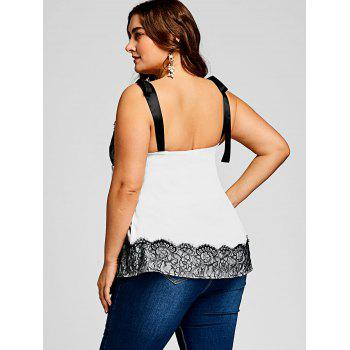 Plus Size Eyelash Lace Panel Cami Top - WHITE XL