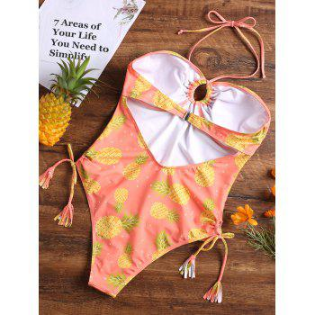 Pineapple Halter High Leg One Piece Swimsuit - JACINTH S