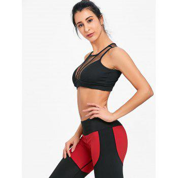 Sleeveless Mesh Insert Crop Top - BLACK S