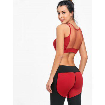 Sleeveless Mesh Insert Crop Top - RED S