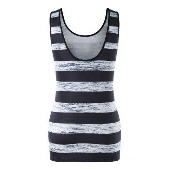 Stripe and Skull Print Tunic Tank Top - BLACK L